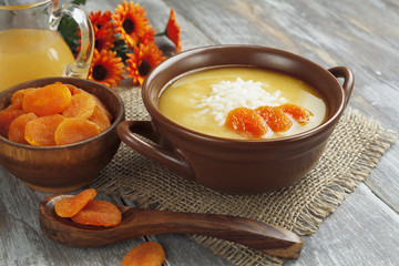 Rice soup with dried apricots