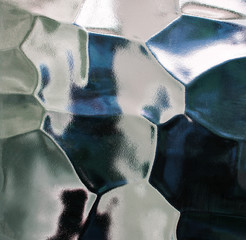 Glass abstract, background in blue and white.