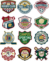 Vintage collection of sport badges