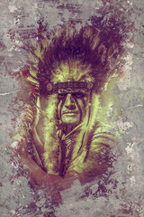Fineart background, American Indian warrior, chief of the tribe.