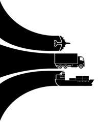 Transport icons with isolated background