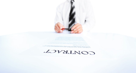 Business worker signing the contract to conclude