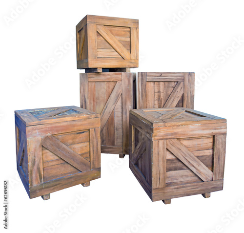 wooden crates boxes isolated on white