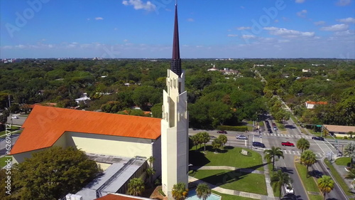 Aerial footage of a church cross
