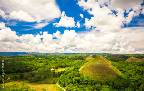 Green unusual Chocolate Hills in Bohol, Philippines