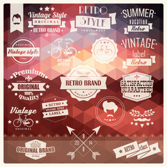 Collection of vintage retro hipster badges, labels and ribbons