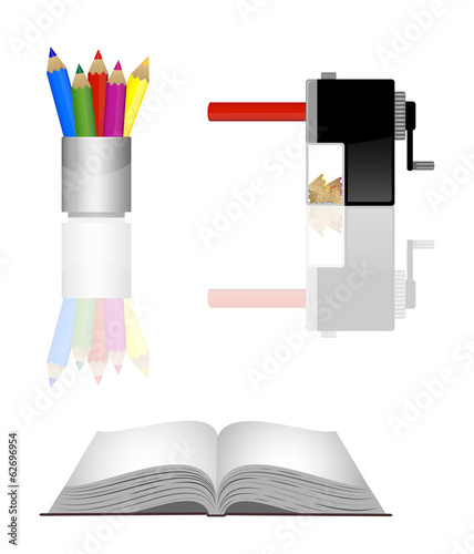 Office tools and book colour pencils