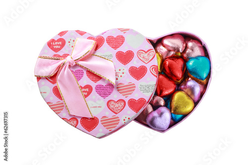Heart chocolates in love Pink present