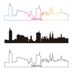 Vienna skyline linear style with rainbow