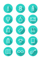 Make up and shopping icon set. flat icons. vector
