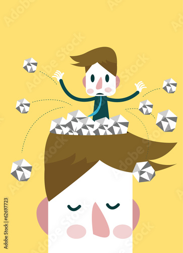 Empty the head trash. Business ideas concept. Vector