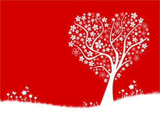Baum Herz Wiese rot