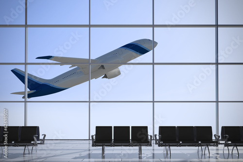 Departures airport windows