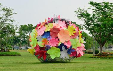 Flower art sculpture in garden