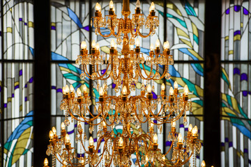 Crystal chandelier and leaded pane