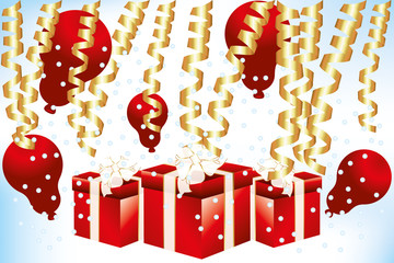 Gift boxes and balloons - Stock Illustration