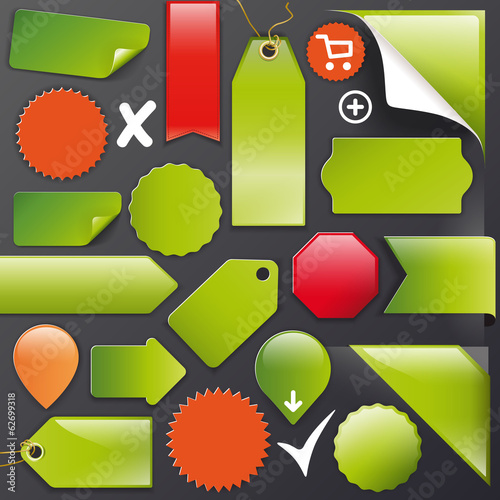 Vector Set green labels+Buttons+Ribbons