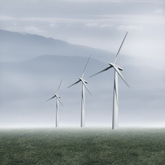 windmills of renewable electricity generation in the landscape