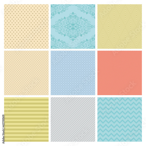 Seamless Subtle geometric background set.