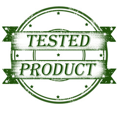 Grunge rubber product tested stamp on white, vector illustration