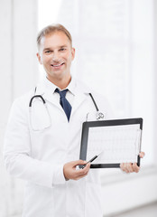 male doctor with stethoscope showing cardiogram