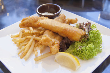 Fish and Chips with Tartar Sauce and Lettuce