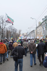 Protest manifestation of muscovites against war