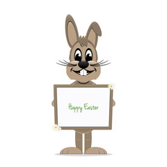 brown bunny hold happy easter sign board isolated