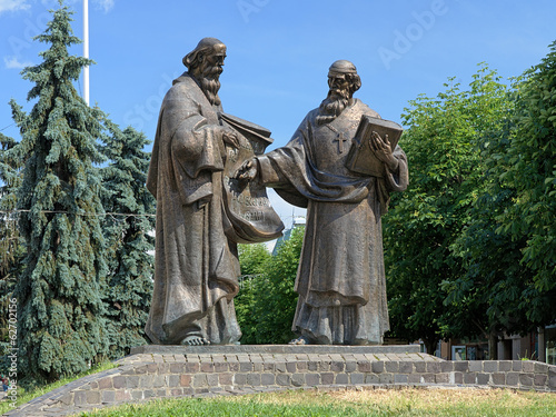 Monument of Saints Cyril and Methodius in Mukacheve, Ukraine