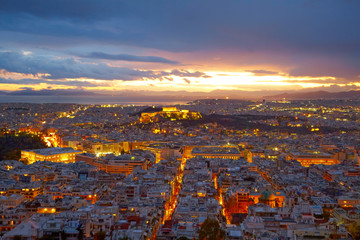 Athens, Greece. After sunset.