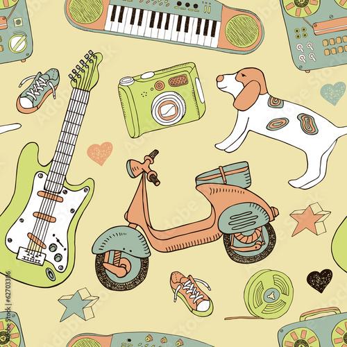 doodle summer seamless pattern - 62703306