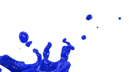 splashing blue ink in slow motion, alpha channel included