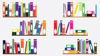Books on shelves set illustration