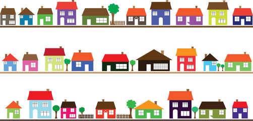 Neighborhood with colorful homes