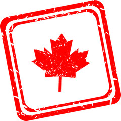 Stylized maple leaf. red web stamp icon