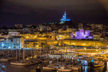 Notre-Dame de la Garde over the Old Port in Marseille