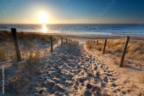 Tuinposter Water sunshine over path to beach in North sea