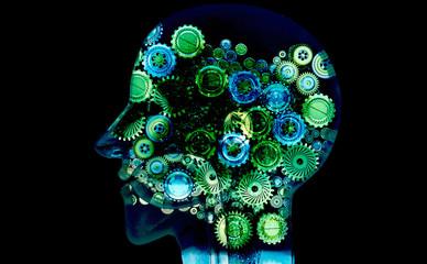 Mente, genio, idee, creatività,Meccanismi, ingranaggi, ruote