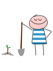 Smiling Child Planting Tree With Shovel