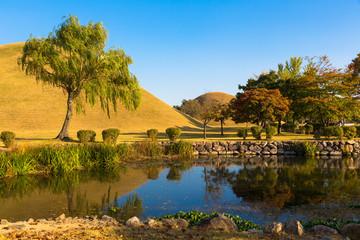 Lake in Tumuli Park in Gyeongju, South Korea
