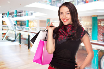 Young woman shopping in the mall