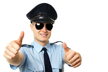 Young Policeman shows you two fingers up