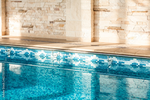 Horizontal shot of indoor swimming pool