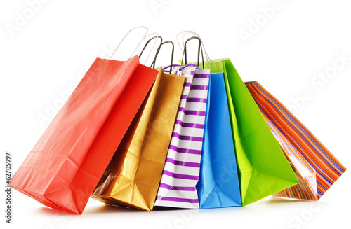 Paper shopping bags isolated on white background - 62705997