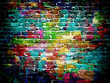 canvas print picture - graffiti brick wall
