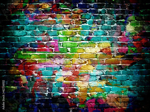 canvas print picture graffiti brick wall