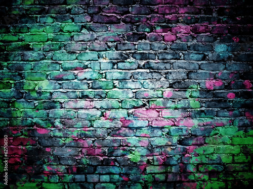 Fotobehang Wand graffiti brick wall