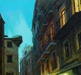 evening in gothic quarter of barcelona, painting