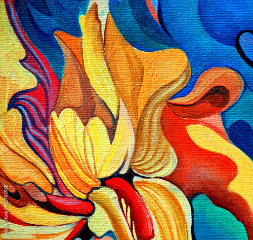 Obraz na Szkle decorative flower painting by oil on canvas, illustration