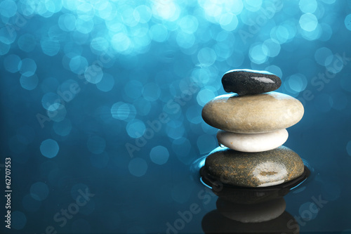 Balanced stones in water